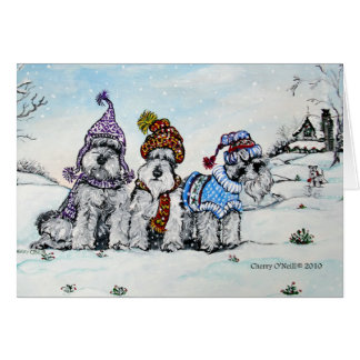 Schnauzers in Winter Greeting Card