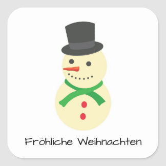 Schneemann Fröhliche Weihnachten Square Sticker