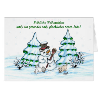 Schneemann with cat and dog puppy card