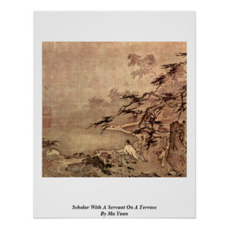 Scholar With A Servant On A Terrace By Ma Yuan Poster
