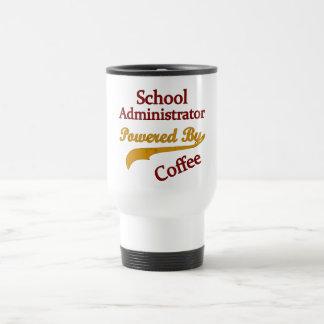 School Administrator Powered By Coffee 15 Oz Stainless Steel Travel Mug
