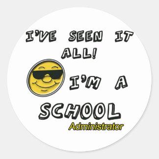 School Administrator Round Sticker