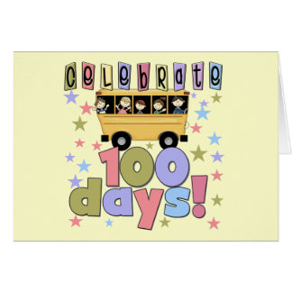 School Bus 100 Days Tshirts and Gifts Greeting Card