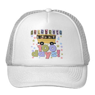 School Bus 100 Days Tshirts and Gifts Trucker Hats