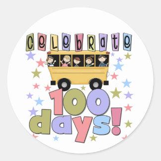 School Bus 100 Days Tshirts and Gifts Round Sticker