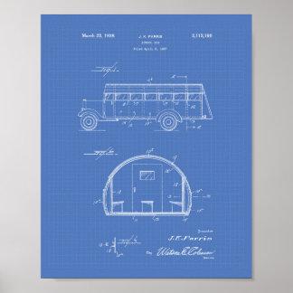 School Bus 1937 Patent Art Blueprint Poster