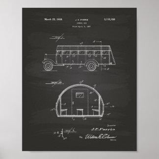 School Bus 1937 Patent Art Chalkboard Poster