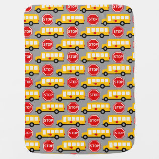 School Bus and Stop Sign Baby Blanket