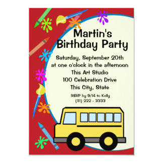 School Bus Art Birthday Card