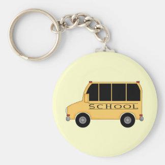School Bus Basic Round Button Keychain