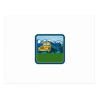 School Bus Cactus Mountains Square Retro Postcard