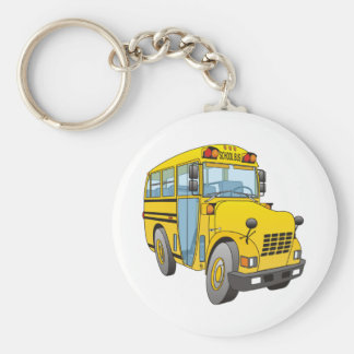 School Bus Cartoon Basic Round Button Keychain