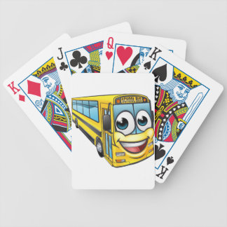 School Bus Cartoon Character Mascot Bicycle Playing Cards