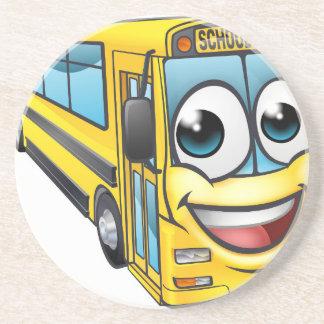 School Bus Cartoon Character Mascot Coaster
