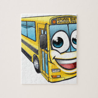School Bus Cartoon Character Mascot Jigsaw Puzzle