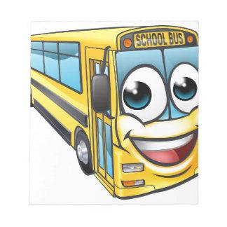 School Bus Cartoon Character Mascot Notepad