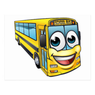 School Bus Cartoon Character Mascot Postcard
