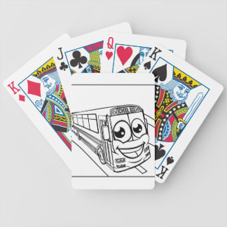 School Bus Cartoon Character Mascot Scene Bicycle Playing Cards