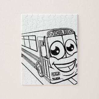 School Bus Cartoon Character Mascot Scene Jigsaw Puzzle