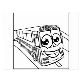 School Bus Cartoon Character Mascot Scene Postcard