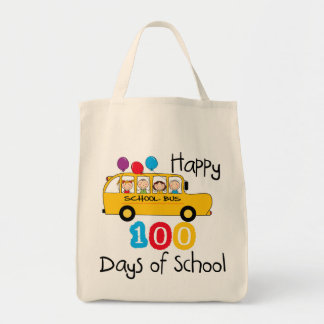 School Bus Celebrate 100 Days Tote Bag