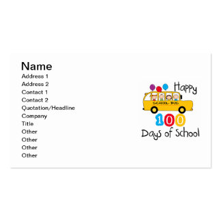 School Bus Celebrate 100 Days Double-Sided Standard Business Cards (Pack Of 100)
