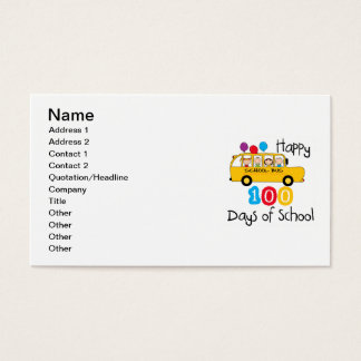 School Bus Celebrate 100 Days Business Card