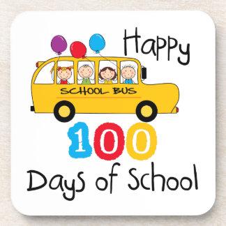 School Bus Celebrate 100 Days Coasters