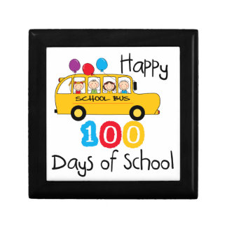 School Bus Celebrate 100 Days Jewelry Boxes
