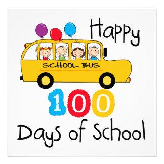 School Bus Celebrate 100 Days Custom Invitations