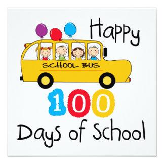 School Bus Celebrate 100 Days 5.25x5.25 Square Paper Invitation Card