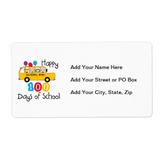 School Bus Celebrate 100 Days Shipping Label