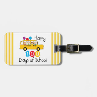 School Bus Celebrate 100 Days Tag For Bags