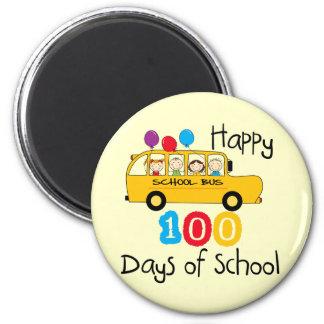 School Bus Celebrate 100 Days Fridge Magnets