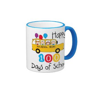 School Bus Celebrate 100 Days Mugs