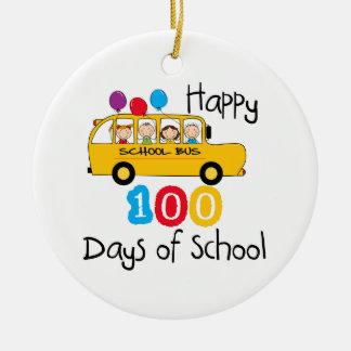 School Bus Celebrate 100 Days Christmas Tree Ornaments