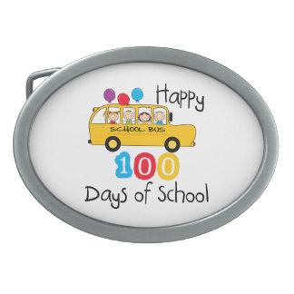 School Bus Celebrate 100 Days Oval Belt Buckles