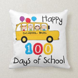School Bus Celebrate 100 Days Throw Pillows