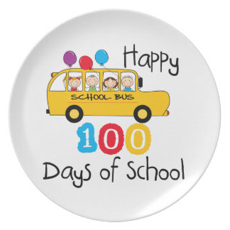 School Bus Celebrate 100 Days Party Plate