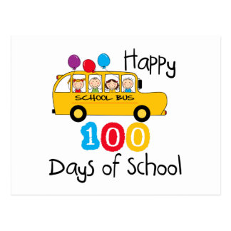 School Bus Celebrate 100 Days Postcard