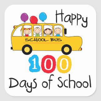 School Bus Celebrate 100 Days Stickers