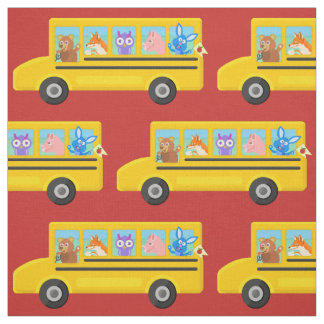 School Bus Cute Animals Pattern | Choose Any Color Fabric
