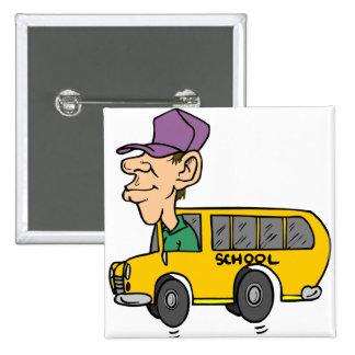 School Bus Driver 2 Inch Square Button