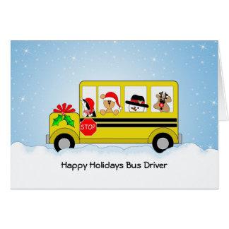 School Bus Driver Christmas Card, Happy Holidays
