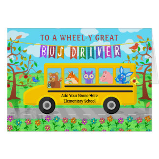 School Bus Driver Custom Thank You | Cute Animals Card