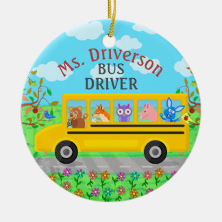 School Bus Driver Cute Animals   Personalized Name Ceramic Ornament