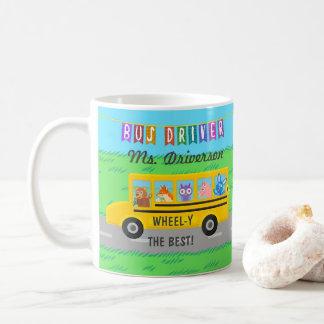 School Bus Driver Cute Animals | Personalized Name Coffee Mug