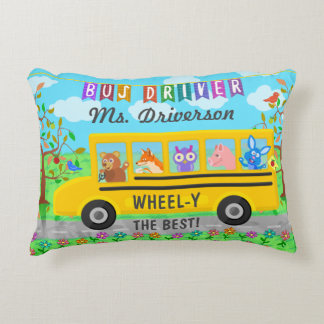 School Bus Driver Cute Animals | Personalized Name Decorative Pillow