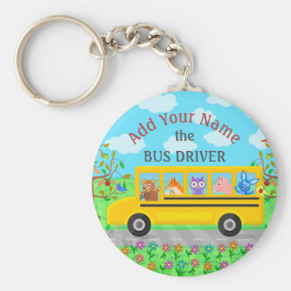 School Bus Driver Cute Animals | Personalized Name Keychain