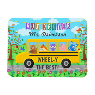 School Bus Driver Cute Animals   Personalized Name Magnet